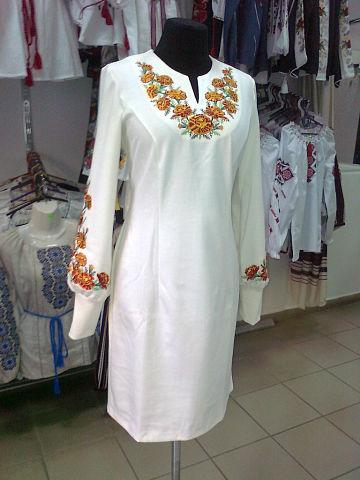 Плаття Чорнобривці молочне   Вишиванки 1b59ac0fcea80