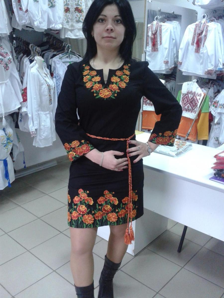 Плаття Чорнобривці стрейч-льон e72d6dbb162d7