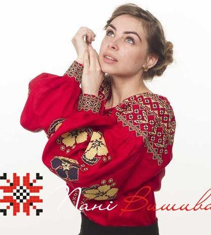 Вишиванка Барвінок червоний льон ВЖЖ-06 72bd6825c03f3