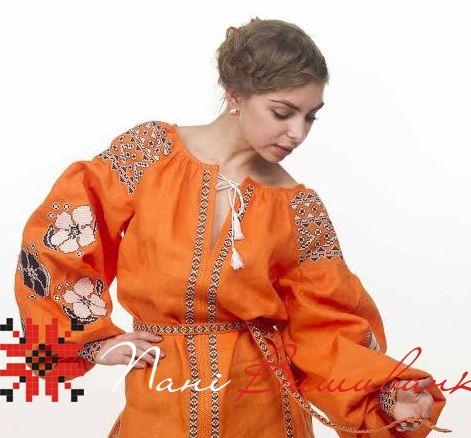 Вишиванка Барвінок оранж льон ВЖЖ-07 84da6a8cc191c