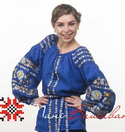Вишиванка Барвінок синій льон ВЖЖ-08   Вишиванки 62a729b565f9a