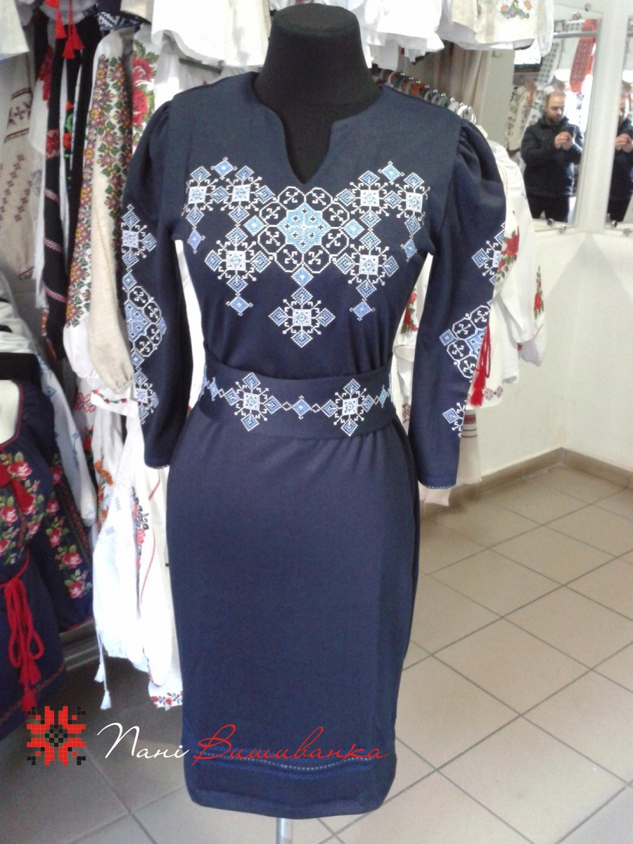 Плаття Слов яночка. Тканина-трикотаж темно-синій   Вишиванки 23530c649ef11