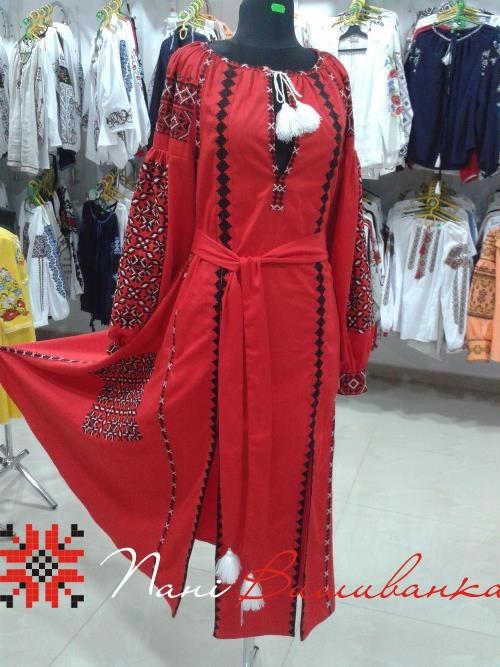 Плаття в стилі БОХО Геометрія червоне 022   Вишиванки 59d8c7ffdf534