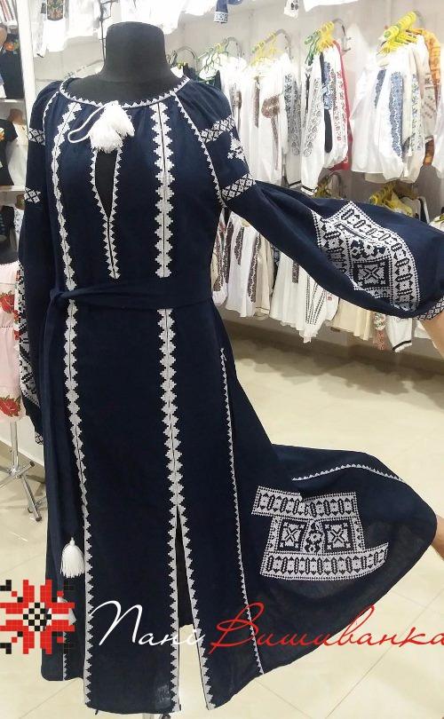 Плаття в стилі БОХО Геометрія темно-синє 023 a81b86e6dece9