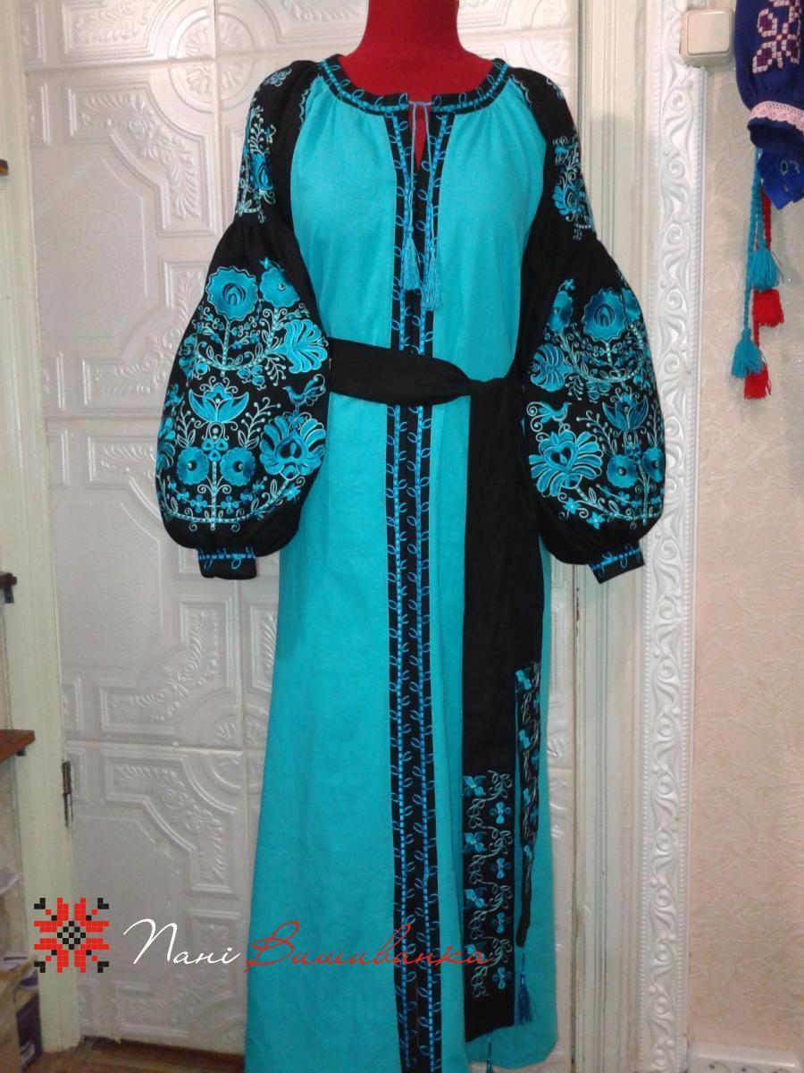 Плаття в стилі Бохо бірюза 043   Вишиванки 33e10b6a26c28